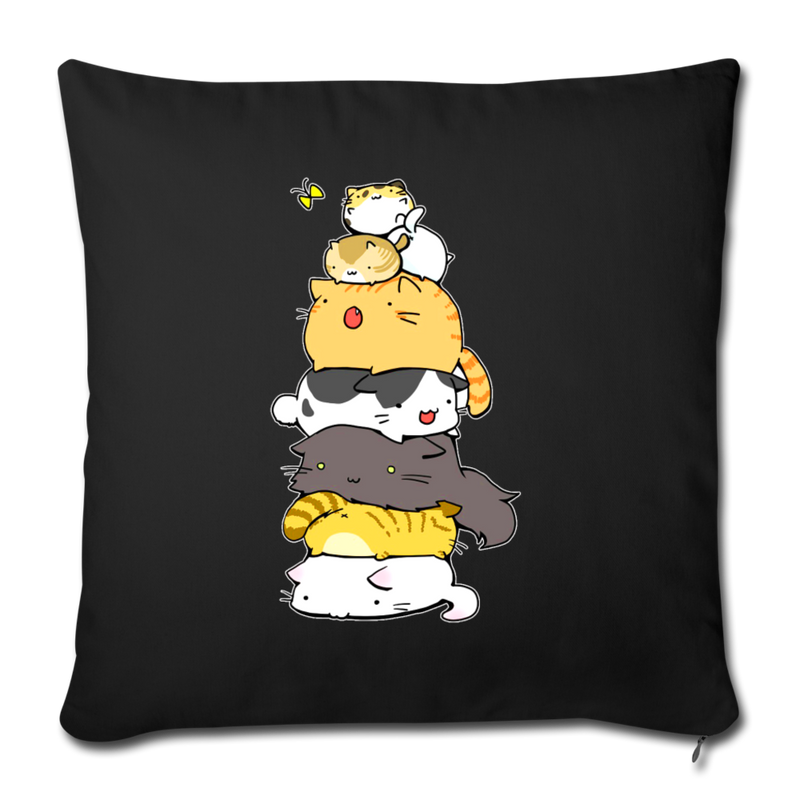 "Cats Meowtain Throw Pillow Cover 17.5"" x 17.5"" - black"