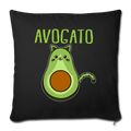 "Cinco De Mayo Cinco De_Meow Avogato Cat Avocado Throw Pillow Cover 17.5"" x 17.5"" - black"