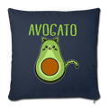 "Cinco De Mayo Cinco De_Meow Avogato Cat Avocado Throw Pillow Cover 17.5"" x 17.5"" - navy"