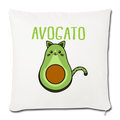 "Cinco De Mayo Cinco De_Meow Avogato Cat Avocado Throw Pillow Cover 17.5"" x 17.5"" - natural white"