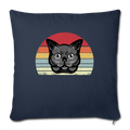 "Cat Retro Style Throw Pillow Cover 17.5"" x 17.5"" - navy"