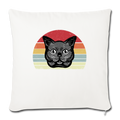 "Cat Retro Style Throw Pillow Cover 17.5"" x 17.5"" - natural white"