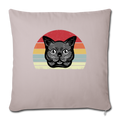 "Cat Retro Style Throw Pillow Cover 17.5"" x 17.5"" - light taupe"