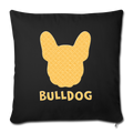 "BullDog Throw Pillow Cover 17.5"" x 17.5"" - black"