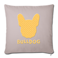 "BullDog Throw Pillow Cover 17.5"" x 17.5"" - light taupe"