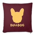 "BullDog Throw Pillow Cover 17.5"" x 17.5"" - burgundy"