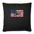 "American Flag Dachshund Dog Lover 4th of July Throw Pillow Cover 17.5"" x 17.5"" - black"