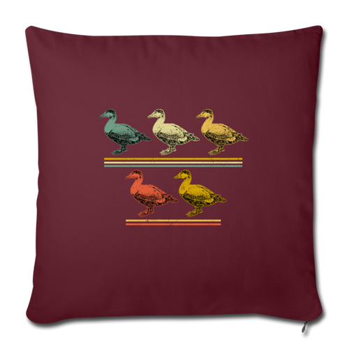 "5 LITTLE DUCKLINGS Throw Pillow Cover 17.5"" x 17.5"" - burgundy"