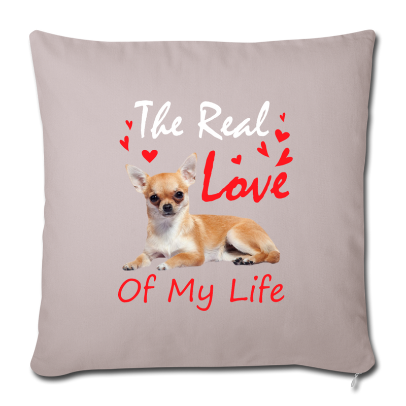 "The real love of my life Throw Pillow Cover 17.5"" x 17.5"" - light taupe"