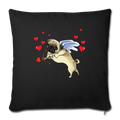 "Pug cupid Throw Pillow Cover 17.5"" x 17.5"" - black"