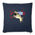 "Pug cupid Throw Pillow Cover 17.5"" x 17.5"" - navy"