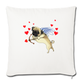 "Pug cupid Throw Pillow Cover 17.5"" x 17.5"" - natural white"