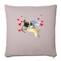 "Pug cupid Throw Pillow Cover 17.5"" x 17.5"" - light taupe"
