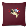 "Pug cupid Throw Pillow Cover 17.5"" x 17.5"" - burgundy"