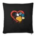 "Retro love heart paw print foot Throw Pillow Cover 17.5"" x 17.5"" - black"