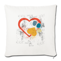 "Retro love heart paw print foot Throw Pillow Cover 17.5"" x 17.5"" - natural white"