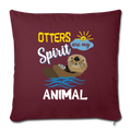 "OTTER Throw Pillow Cover 17.5"" x 17.5"" - burgundy"