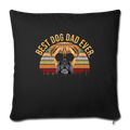 "Mens Vintage Best Dog Dad Ever Boxer Dog Throw Pillow Cover 17.5"" x 17.5"" - black"