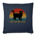 "Best Cat Dad Ever Vintage Black Cat Throw Pillow Cover 17.5"" x 17.5"" - navy"