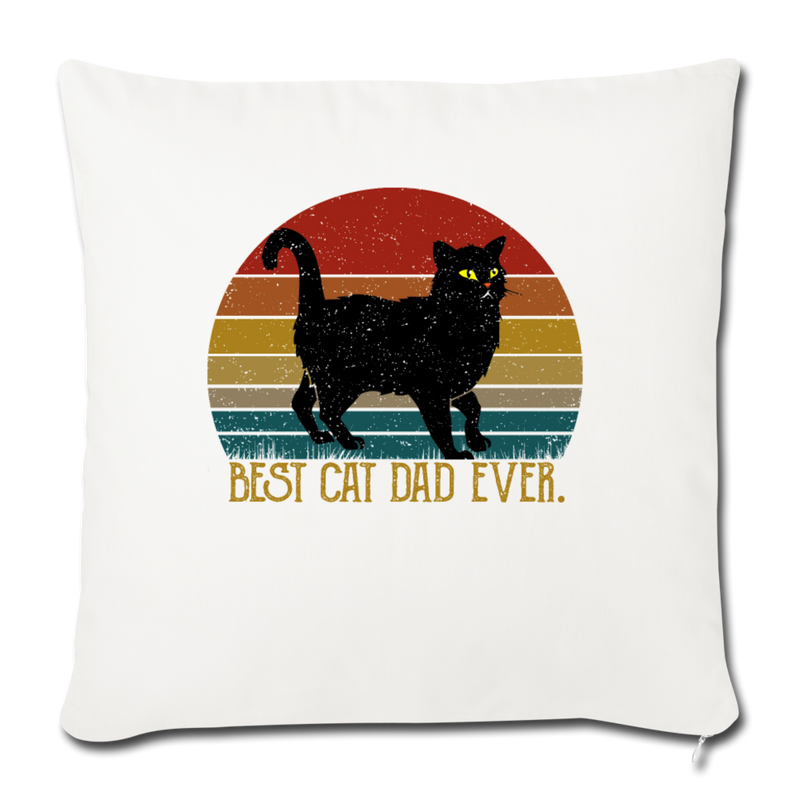 "Best Cat Dad Ever Vintage Black Cat Throw Pillow Cover 17.5"" x 17.5"" - natural white"