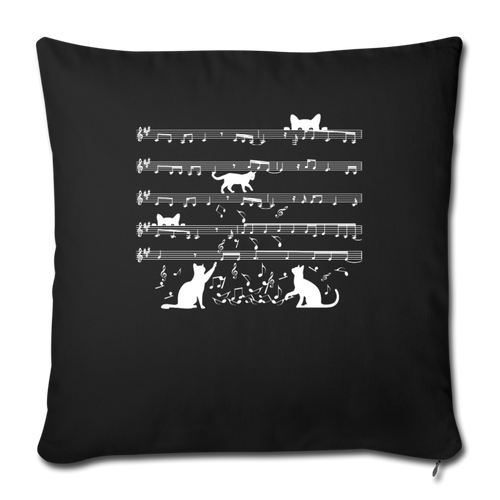"Cute Cat Kitty Playing Music Note Clef Musician Throw Pillow Cover 17.5"" x 17.5"" - black"