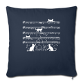 "Cute Cat Kitty Playing Music Note Clef Musician Throw Pillow Cover 17.5"" x 17.5"" - navy"