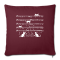 "Cute Cat Kitty Playing Music Note Clef Musician Throw Pillow Cover 17.5"" x 17.5"" - burgundy"
