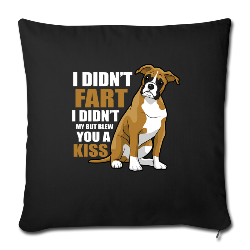 "Boxer dog Funny T-shirt for Dog Mom Throw Pillow Cover 17.5"" x 17.5"" - black"