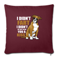"Boxer dog Funny T-shirt for Dog Mom Throw Pillow Cover 17.5"" x 17.5"" - burgundy"