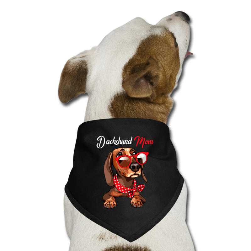 Dachshund_Mom_Wearing_Red_Glasses_-_Red_Polka_Dot_Dog Bandana - black