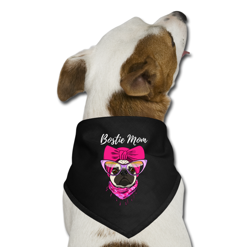 Bostie_Mom Dog Bandana - black