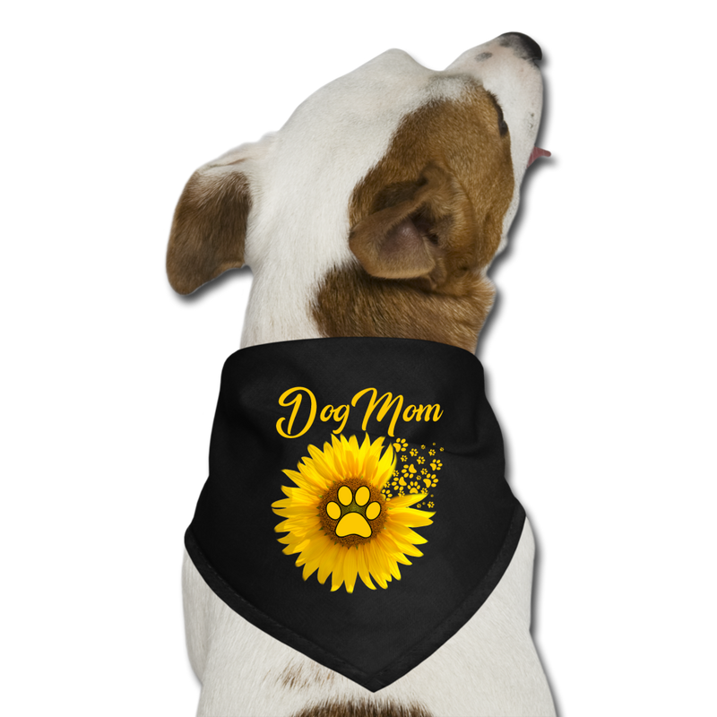 Amazing_Dog_Mom_Sunflower_Dog_Paw Se Dog Bandana - black