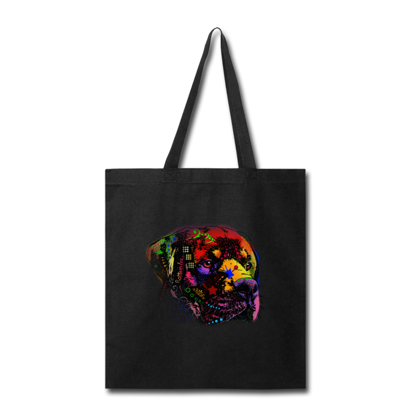 Hand Painted Rotweiler Tote Bag - black