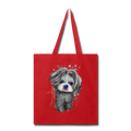 Hand Painted Shih_Tzu Tote Bag - red
