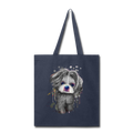 Hand Painted Shih_Tzu Tote Bag - navy