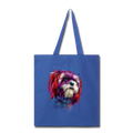 hand painted Shih_Tzu Tote Bag - royal blue