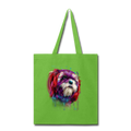 hand painted Shih_Tzu Tote Bag - lime green