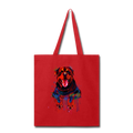 Hand painted rottweiler Tote Bag - red