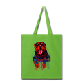 Hand painted rottweiler Tote Bag - lime green