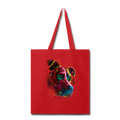 Hand painted pitbull Tote Bag - red