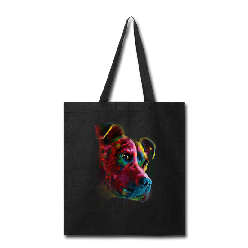 Hand painted pitbull Tote Bag - black