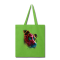 Hand painted pitbull Tote Bag - lime green