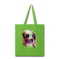 Hand painted cavalier Tote Bag - lime green
