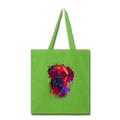 Hand painted Bullmastiff Tote Bag - lime green