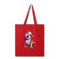Hand painted Bull-Dog Tote Bag - red