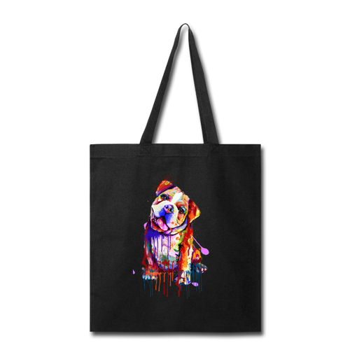 Hand painted Bull-Dog Tote Bag - black