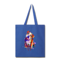 Hand painted Bull-Dog Tote Bag - royal blue