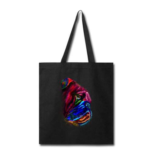 Hand Painted Bull Dog-Tote Bag - black