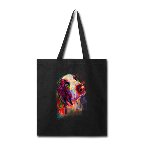 Hand painted bassethound Tote Bag - black