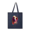 Hand painted bassethound Tote Bag - navy